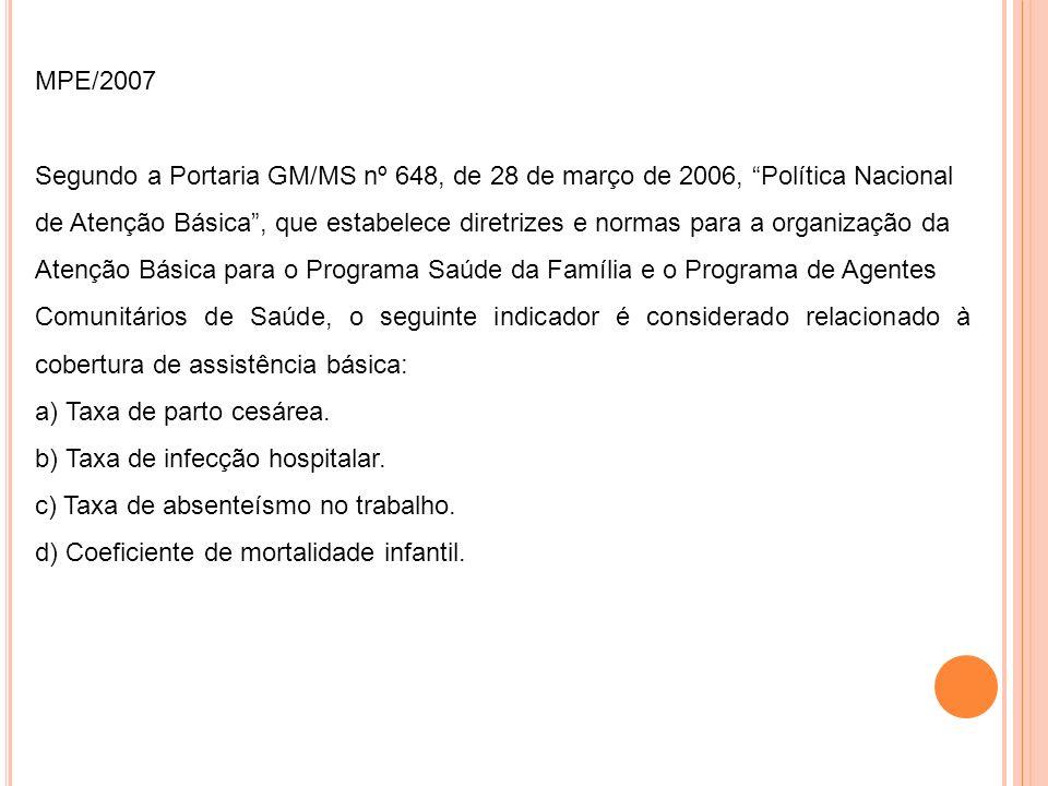 MPE/2007 Segundo a Portaria GM/MS nº 648, de 28 de março de 2006, Política Nacional.