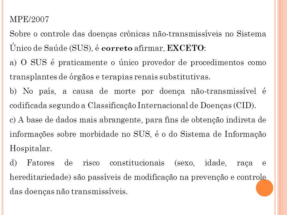 MPE/2007Sobre o controle das doenças crônicas não-transmissíveis no Sistema Único de Saúde (SUS), é correto afirmar, EXCETO: