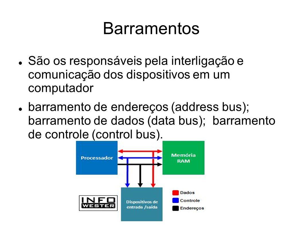 Barramentos São os responsáveis pela interligação e comunicação dos dispositivos em um computador.