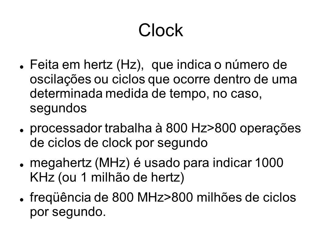 Clock Feita em hertz (Hz), que indica o número de oscilações ou ciclos que ocorre dentro de uma determinada medida de tempo, no caso, segundos.
