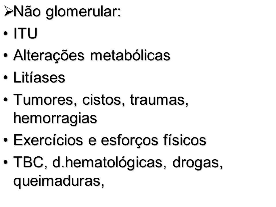 Não glomerular: ITU. Alterações metabólicas. Litíases. Tumores, cistos, traumas, hemorragias. Exercícios e esforços físicos.