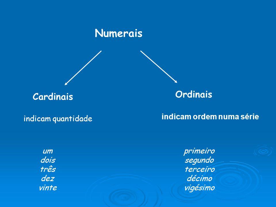 Numerais Ordinais Cardinais indicam ordem numa série