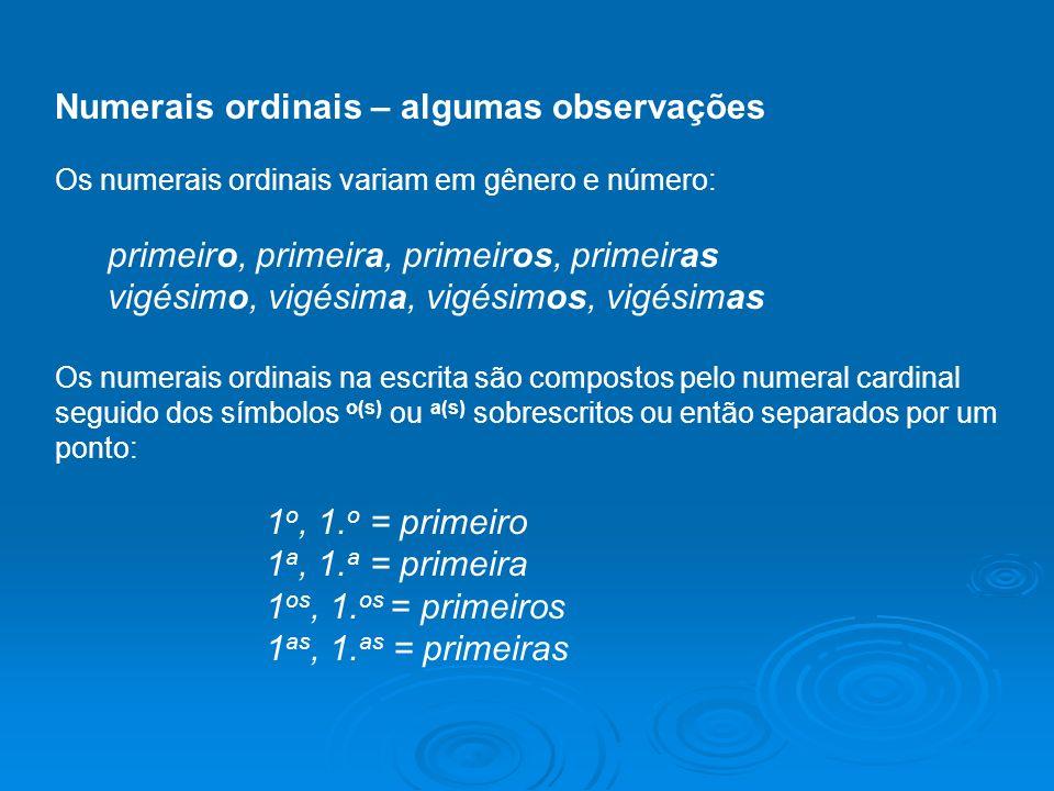 Numerais ordinais – algumas observações