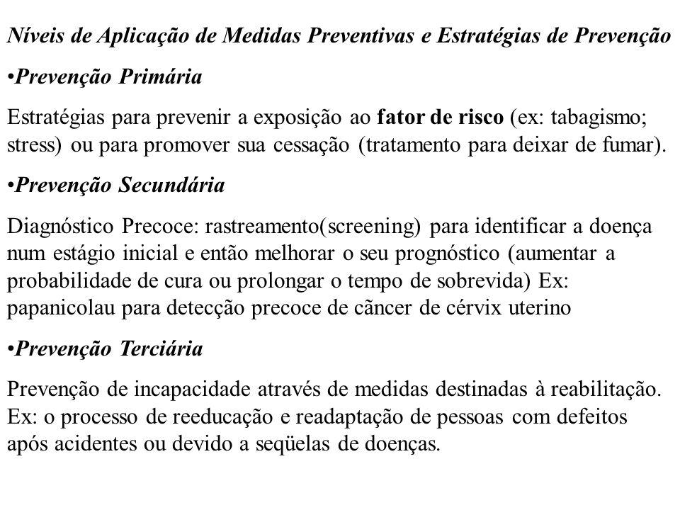 Níveis de Aplicação de Medidas Preventivas e Estratégias de Prevenção