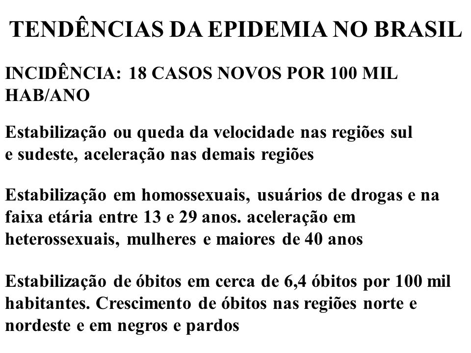 TENDÊNCIAS DA EPIDEMIA NO BRASIL