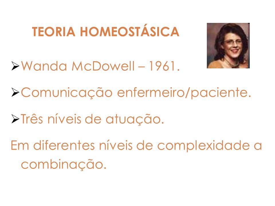 TEORIA HOMEOSTÁSICA Wanda McDowell – 1961. Comunicação enfermeiro/paciente. Três níveis de atuação.