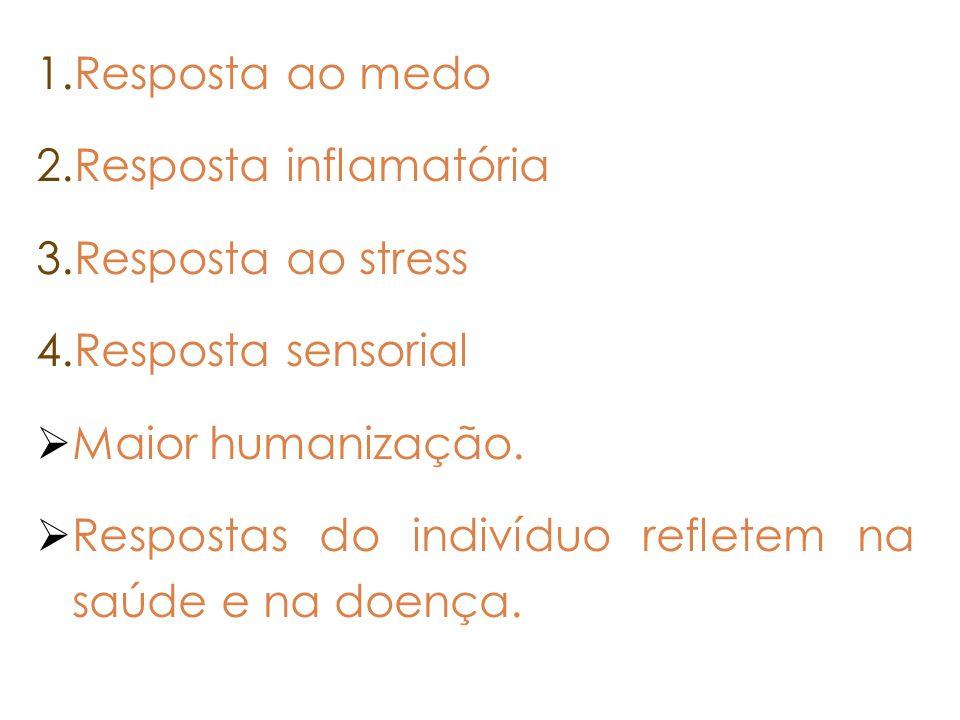Resposta ao medo Resposta inflamatória. Resposta ao stress. Resposta sensorial. Maior humanização.