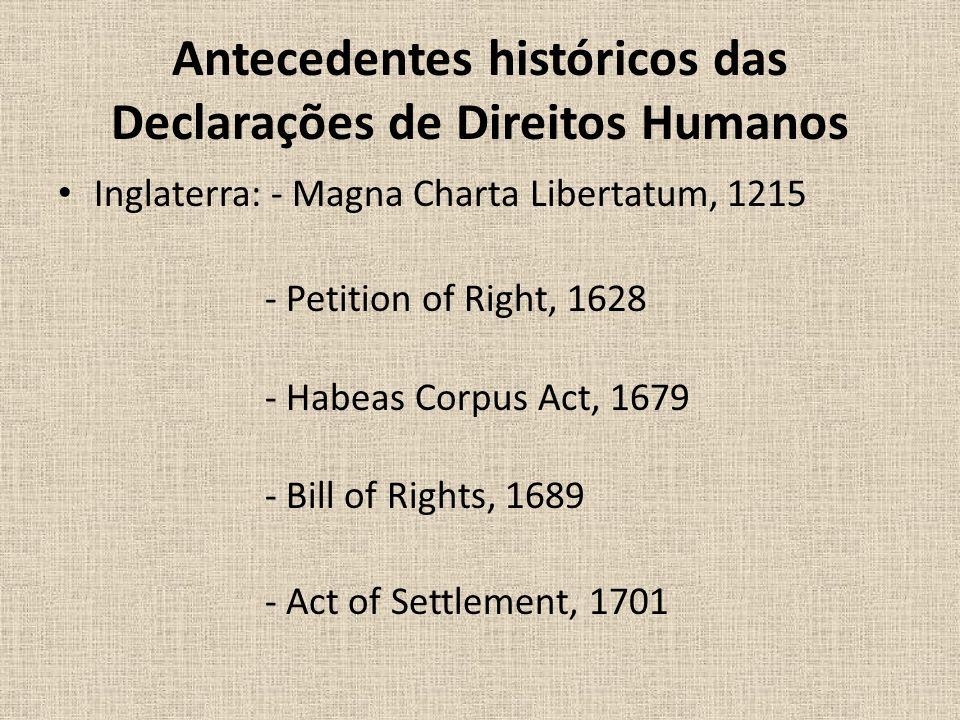 Antecedentes históricos das Declarações de Direitos Humanos