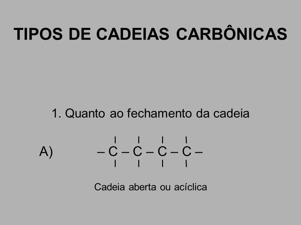 TIPOS DE CADEIAS CARBÔNICAS