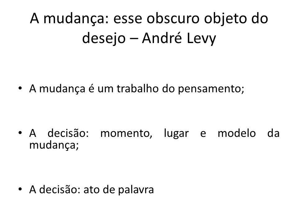 A mudança: esse obscuro objeto do desejo – André Levy