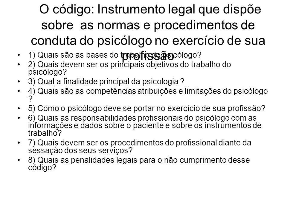O código: Instrumento legal que dispõe sobre as normas e procedimentos de conduta do psicólogo no exercício de sua profissão