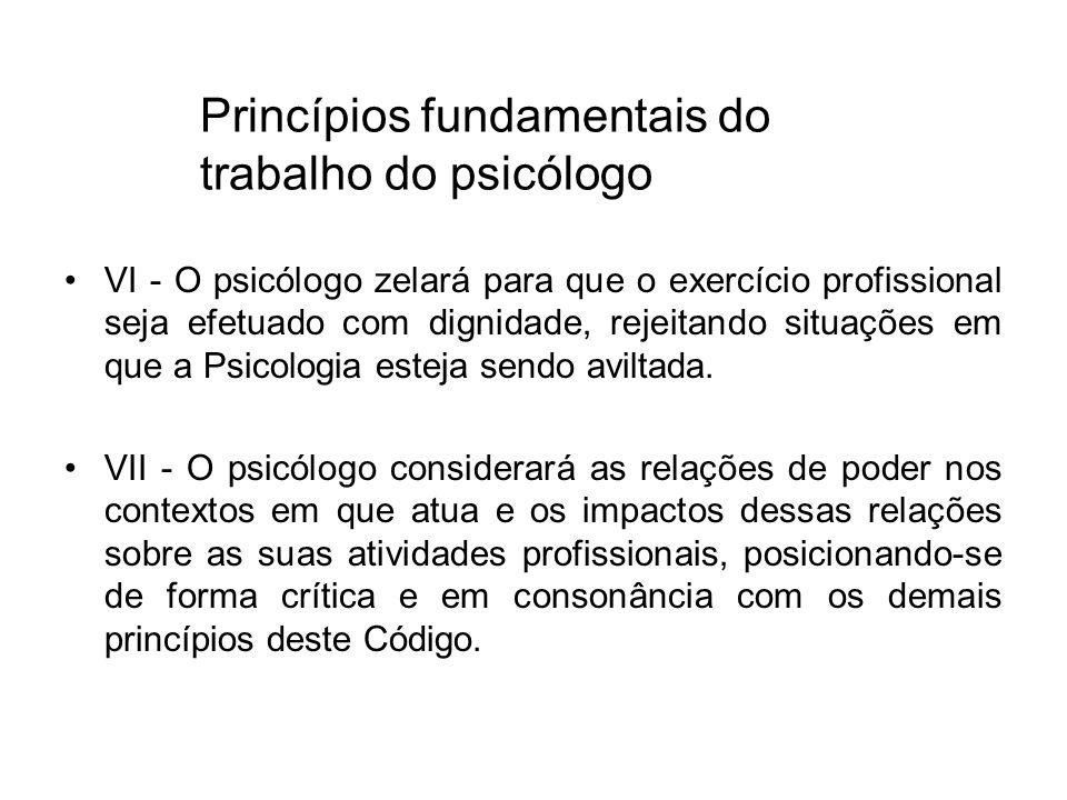 Princípios fundamentais do trabalho do psicólogo