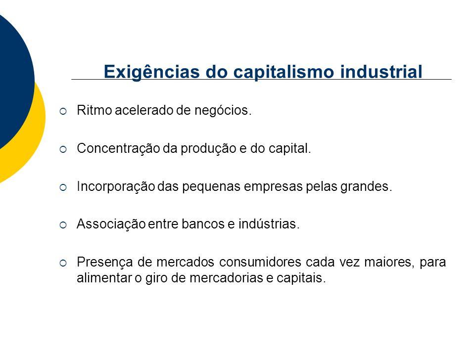 Exigências do capitalismo industrial