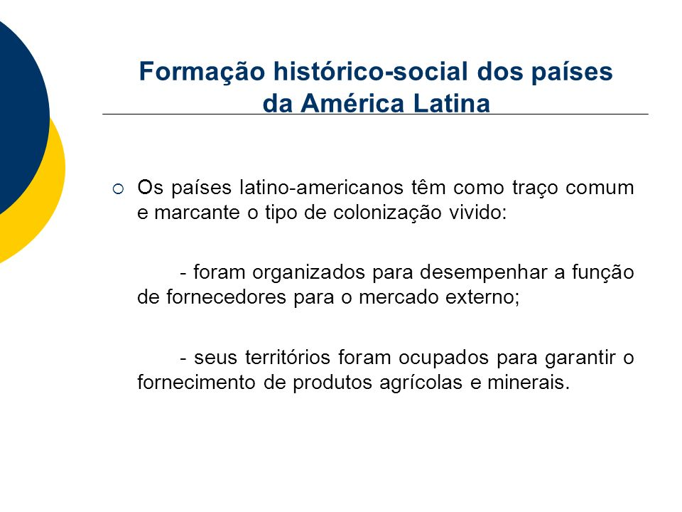 Formação histórico-social dos países da América Latina