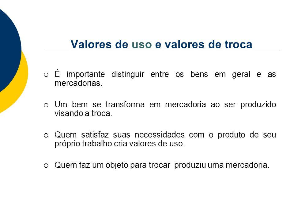 Valores de uso e valores de troca