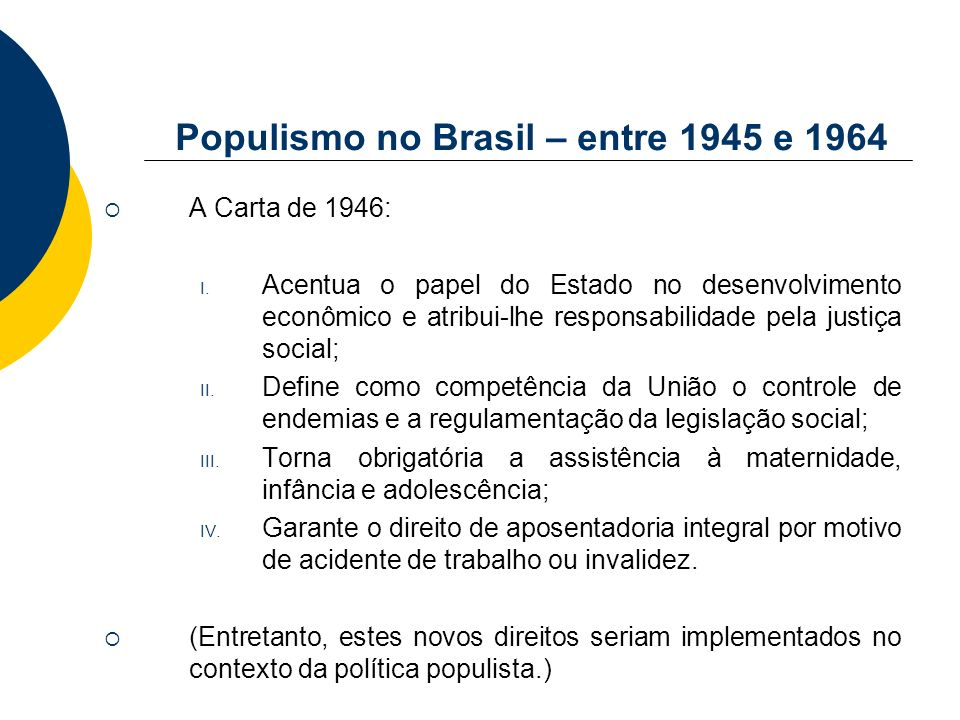 Populismo no Brasil – entre 1945 e 1964