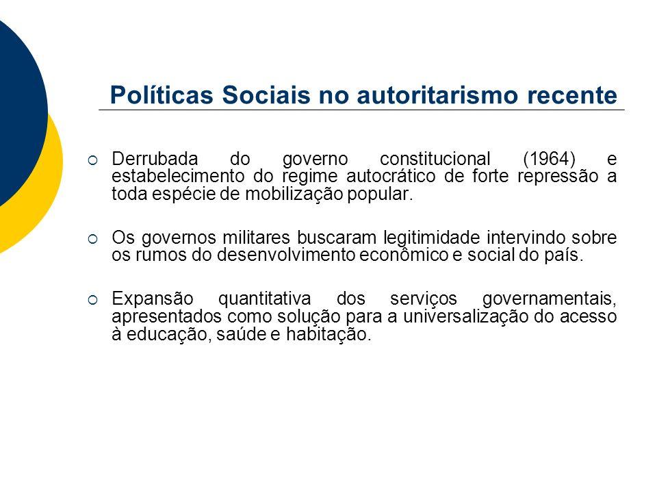 Políticas Sociais no autoritarismo recente