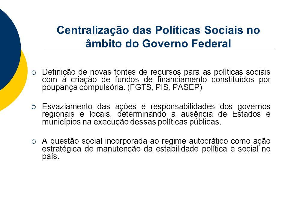 Centralização das Políticas Sociais no âmbito do Governo Federal