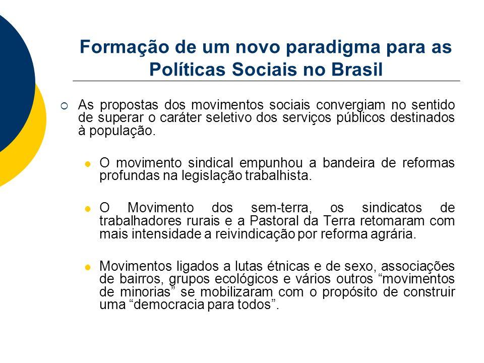 Formação de um novo paradigma para as Políticas Sociais no Brasil