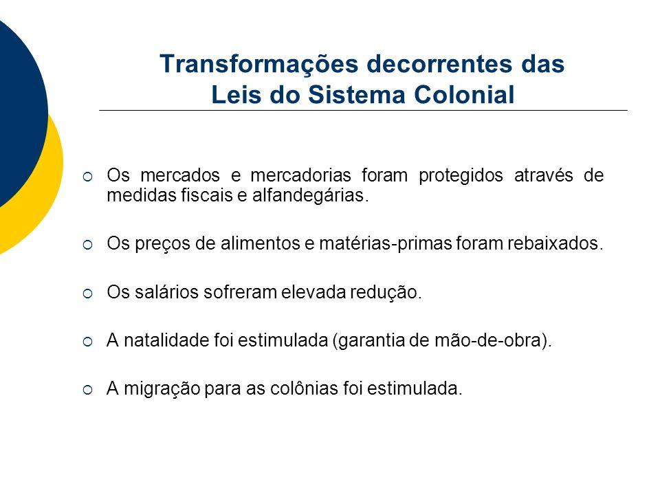 Transformações decorrentes das Leis do Sistema Colonial