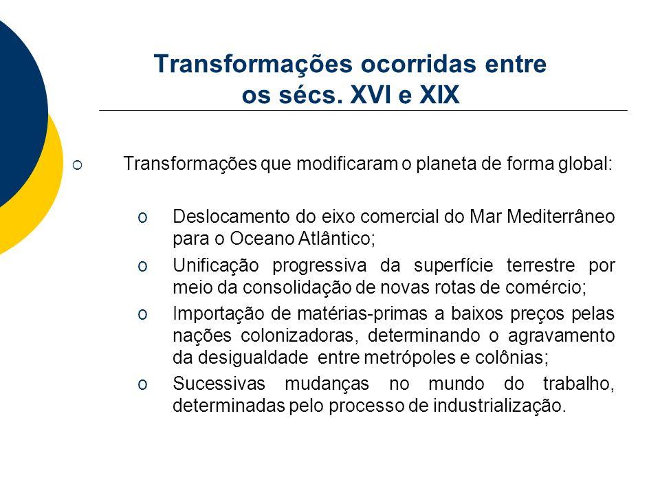 Transformações ocorridas entre os sécs. XVI e XIX