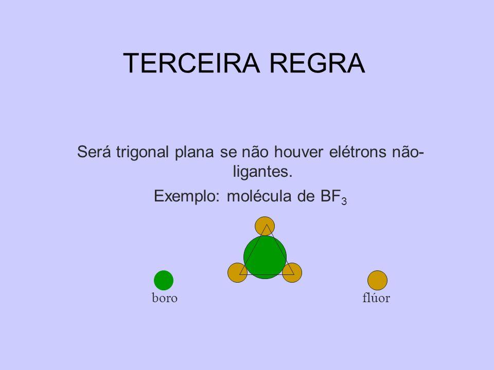 TERCEIRA REGRA Será trigonal plana se não houver elétrons não- ligantes. Exemplo: molécula de BF3.
