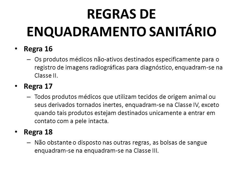 REGRAS DE ENQUADRAMENTO SANITÁRIO