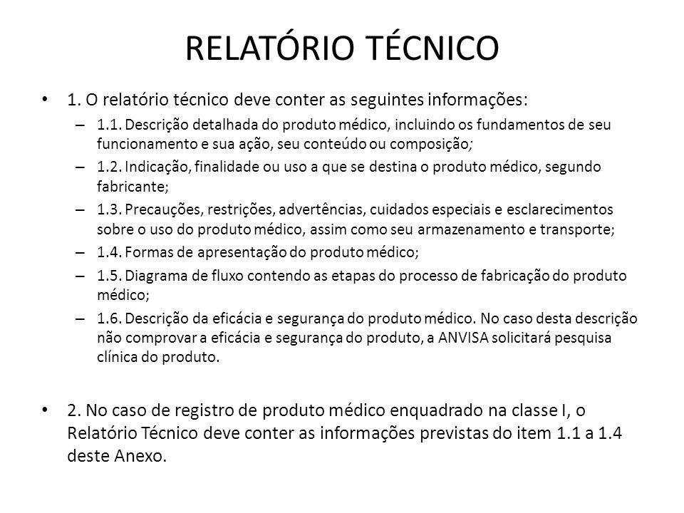 RELATÓRIO TÉCNICO 1. O relatório técnico deve conter as seguintes informações:
