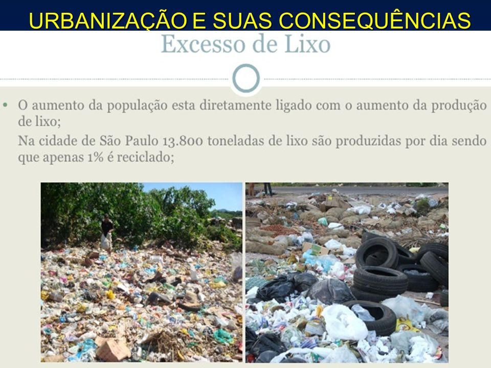 URBANIZAÇÃO E SUAS CONSEQUÊNCIAS
