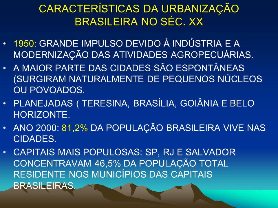 CARACTERÍSTICAS DA URBANIZAÇÃO BRASILEIRA NO SÉC. XX