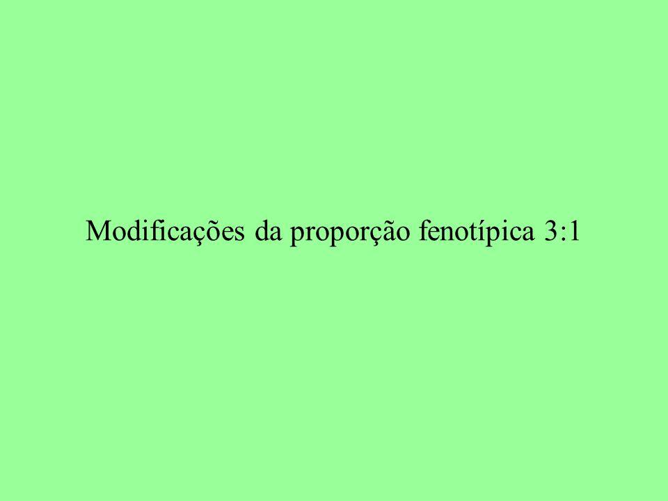 Modificações da proporção fenotípica 3:1