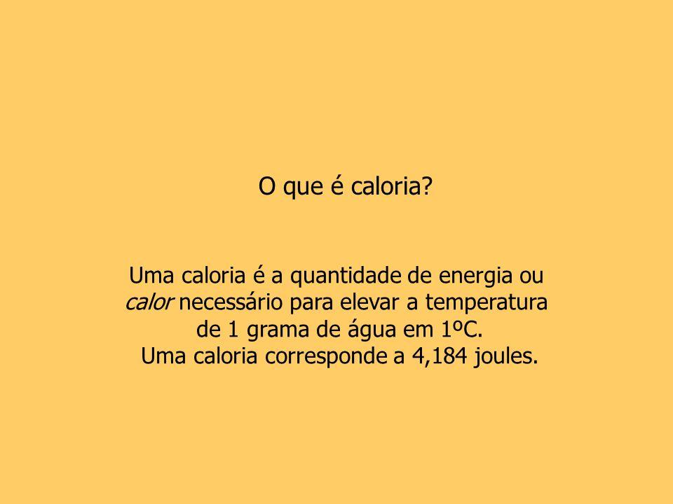 O que é caloria Uma caloria é a quantidade de energia ou