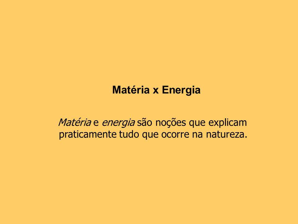 Matéria x Energia Matéria e energia são noções que explicam