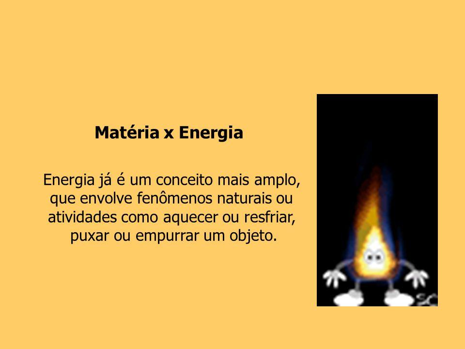 Matéria x Energia Energia já é um conceito mais amplo,