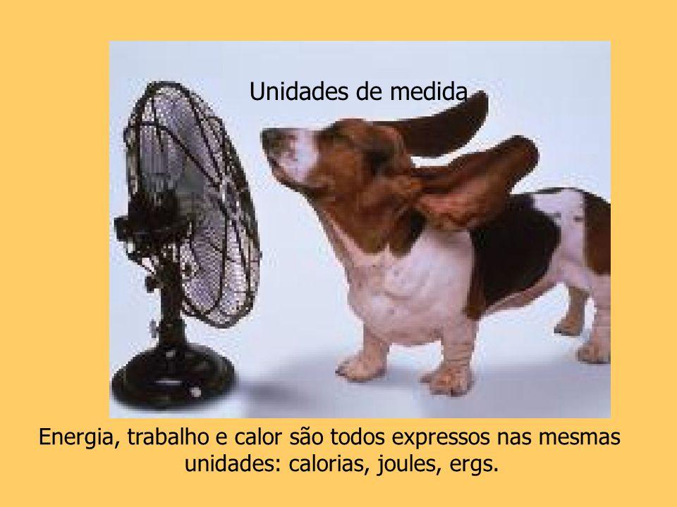 Unidades de medida Energia, trabalho e calor são todos expressos nas mesmas unidades: calorias, joules, ergs.