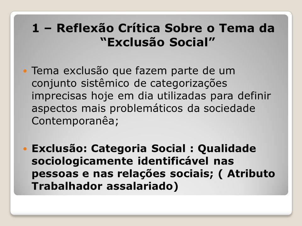 1 – Reflexão Crítica Sobre o Tema da Exclusão Social