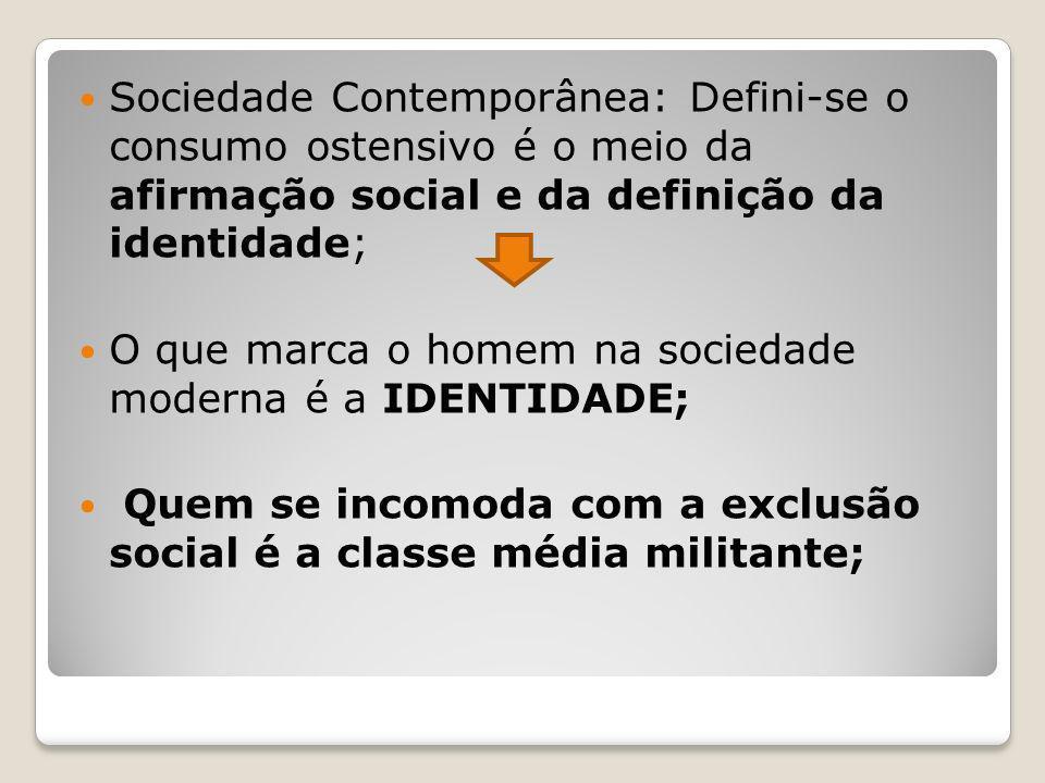 Sociedade Contemporânea: Defini-se o consumo ostensivo é o meio da afirmação social e da definição da identidade;