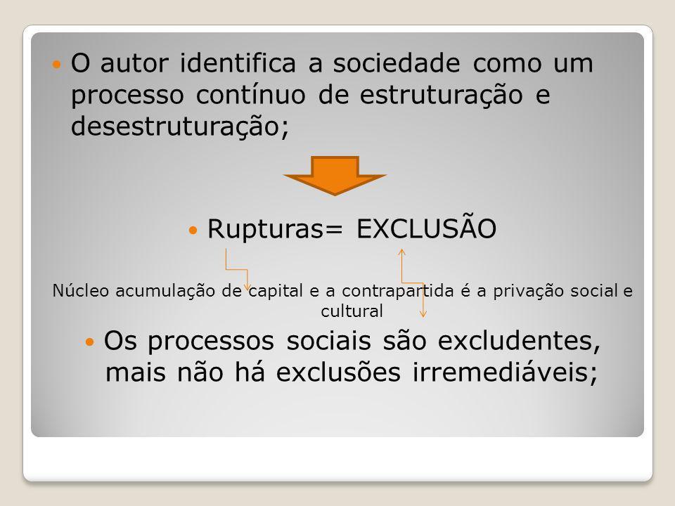 O autor identifica a sociedade como um processo contínuo de estruturação e desestruturação;