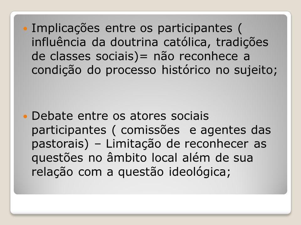 Implicações entre os participantes ( influência da doutrina católica, tradições de classes sociais)= não reconhece a condição do processo histórico no sujeito;
