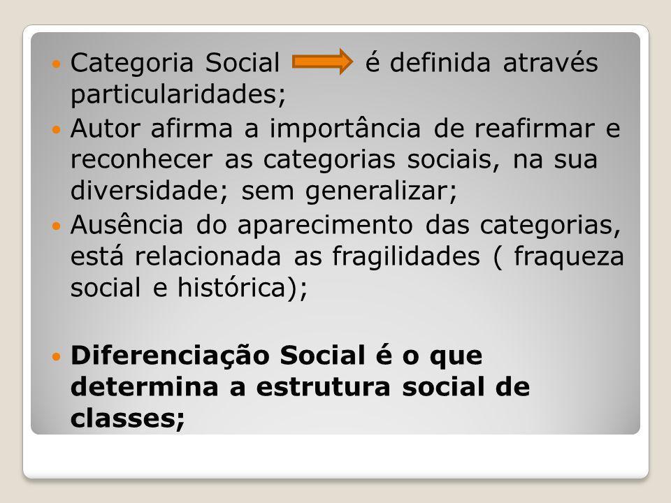 Categoria Social é definida através particularidades;