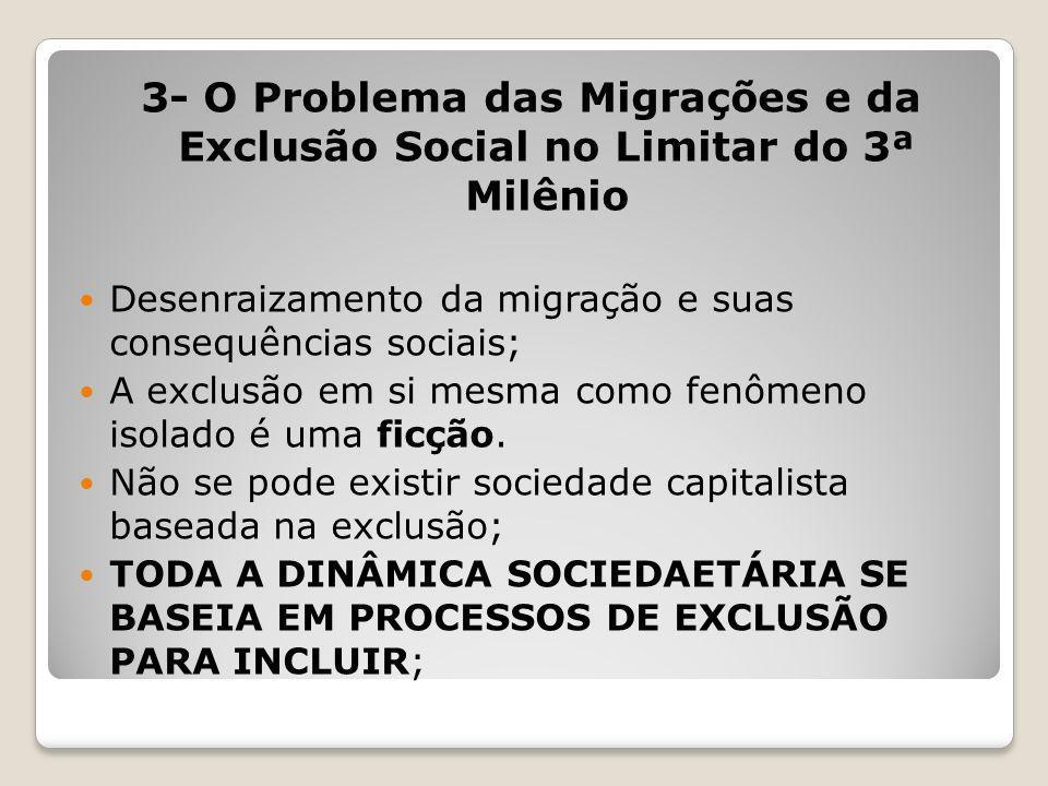 3- O Problema das Migrações e da Exclusão Social no Limitar do 3ª Milênio