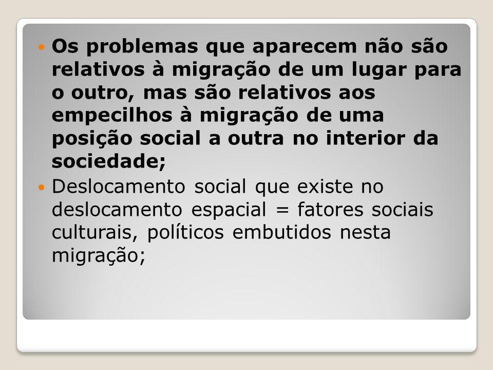 Os problemas que aparecem não são relativos à migração de um lugar para o outro, mas são relativos aos empecilhos à migração de uma posição social a outra no interior da sociedade;