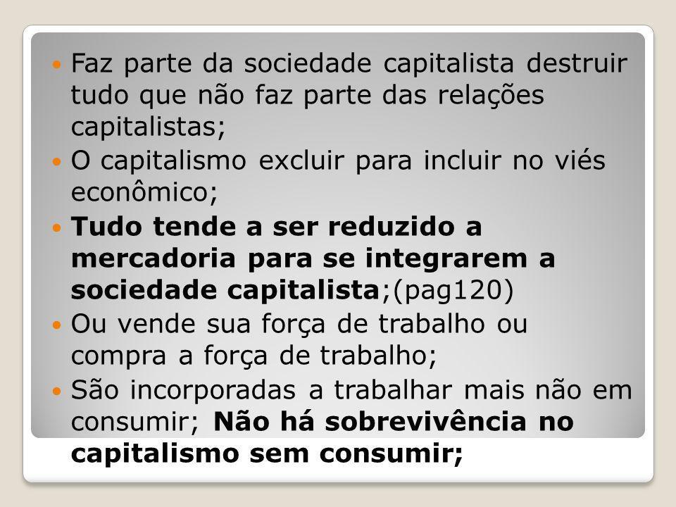 Faz parte da sociedade capitalista destruir tudo que não faz parte das relações capitalistas;