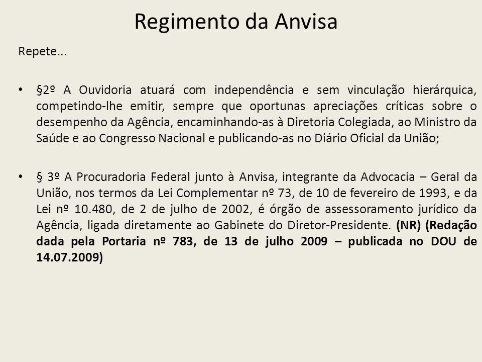 Regimento da Anvisa Repete...