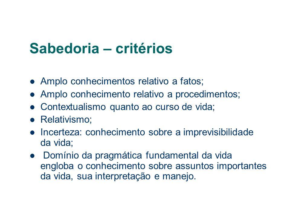 Sabedoria – critérios Amplo conhecimentos relativo a fatos;