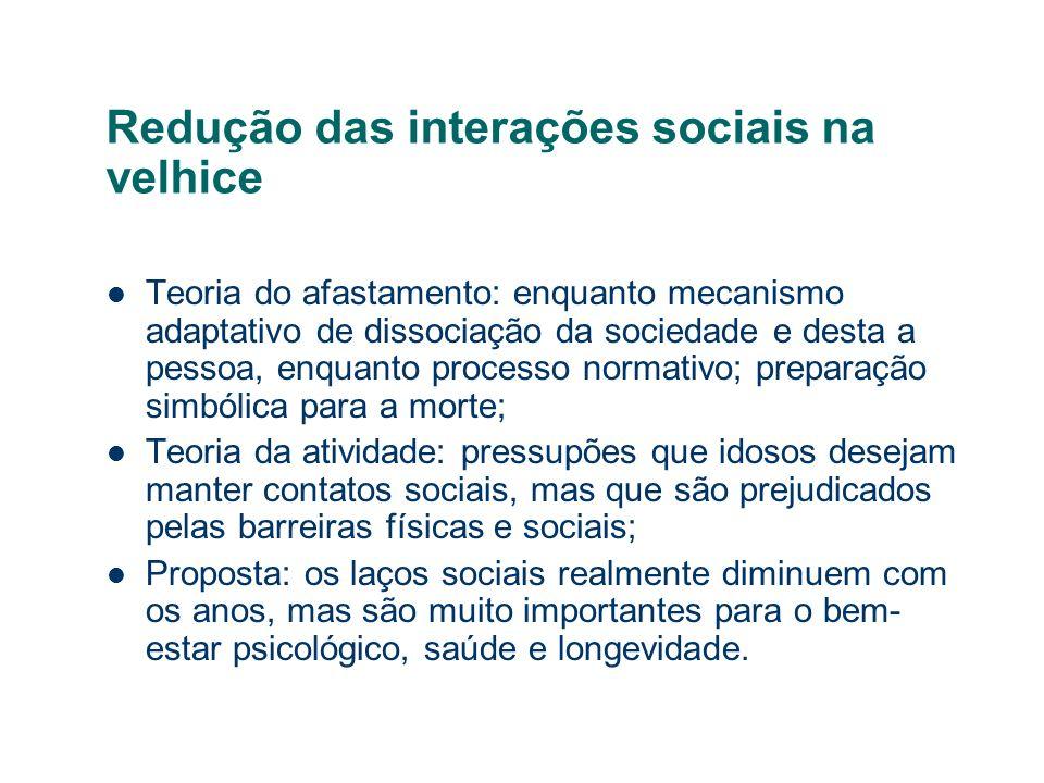 Redução das interações sociais na velhice