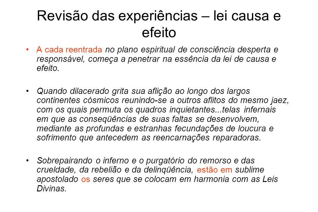 Revisão das experiências – lei causa e efeito