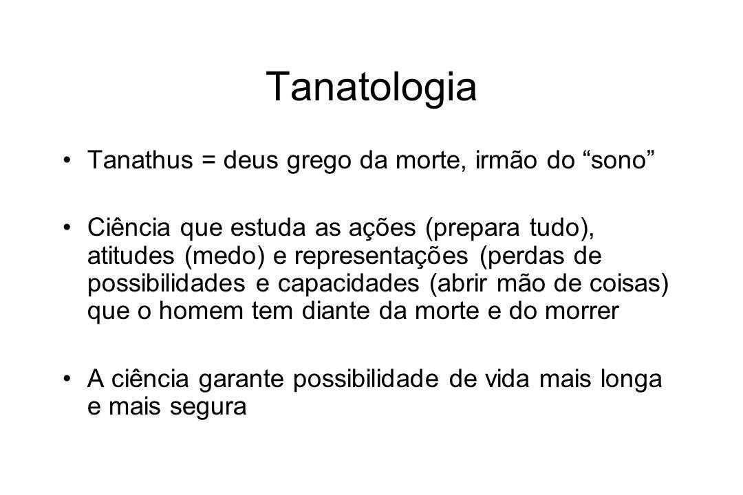 Tanatologia Tanathus = deus grego da morte, irmão do sono