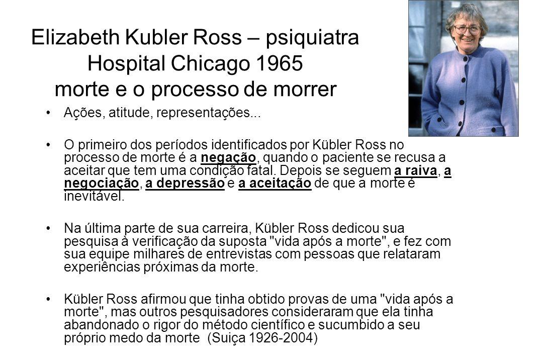 Elizabeth Kubler Ross – psiquiatra Hospital Chicago 1965 morte e o processo de morrer