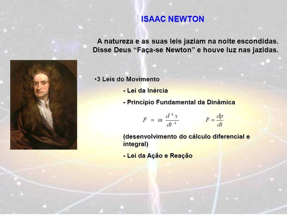 ISAAC NEWTON A natureza e as suas leis jaziam na noite escondidas. Disse Deus Faça-se Newton e houve luz nas jazidas.